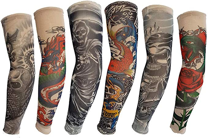 Mzqaxq Tattoo Sleeve 6 Pcs/Set Manga Larga Tatuaje Falso Bicicleta ...