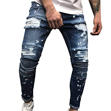 9cc6e51ddb9 Image Unavailable. Image not available for. Color  Mens Skinny Feet  Distressed Ripped Jeans ...