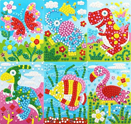 FYZ Brothers EVA Mosaic Sticker Childrens DIY Educational Toys EVA Hand-Made Sticker (Butterfly,Elephant,Tyrannosaurus,Elephant,Fish,Crane,Platypus)