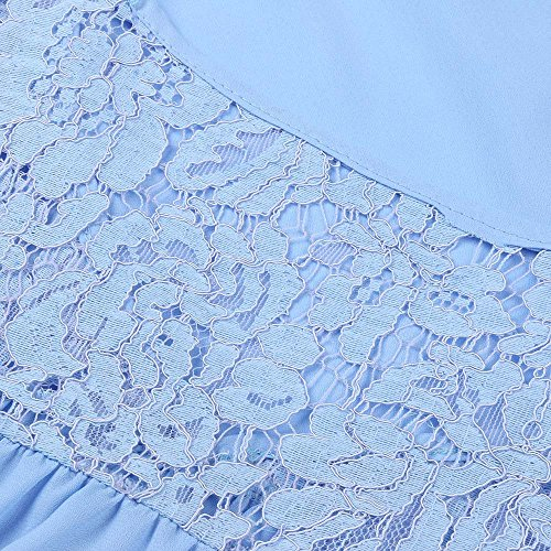 Tops laches Shirts Dentelle Bleu NINGSANJIN T Blouse Manches ciel Femmes Quarts v Cou Stitching Trois Les 11xv6qPE