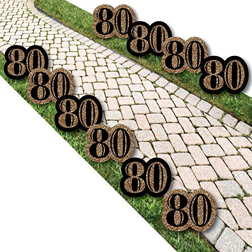 Adult 80th Birthday - Gold Lawn Decorations - Outdoor Birthday Party Yard Decorations - 10 Piece