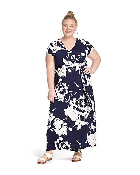 MERI SKYE Plus Size Wrap Maxi Dress