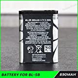 Teflon 3.7V 890mAh Rechargeable Li-ion Battery BL-5B for NOKIA Mobile Phone 3220 3230 5070 5140 5140i 5300 6070 6080 N80 N90 MBT-5836