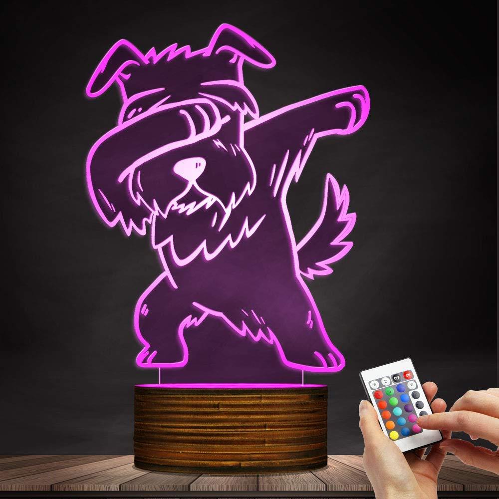 Carl Artbay Schnauzer 3D Optical Illusion Night Light, USB Table Lamp Dog Animal LED Light for Kids Room Decor and Gifts