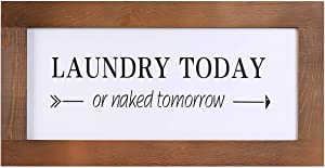 Laundry Sign for Laundry Room Decor, Funny Rustic Wooden Wall Art Decor Sign, Farmhouse Wall Decoration Hanging