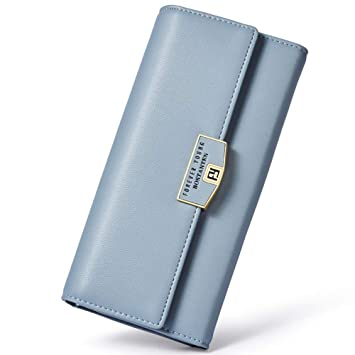e0bd1c87c1fe96 BOSTANTEN Damen Lang Geldbeutel Portemonnee Clutch Handtasche Portemonnaie  Wallet Karten Blau