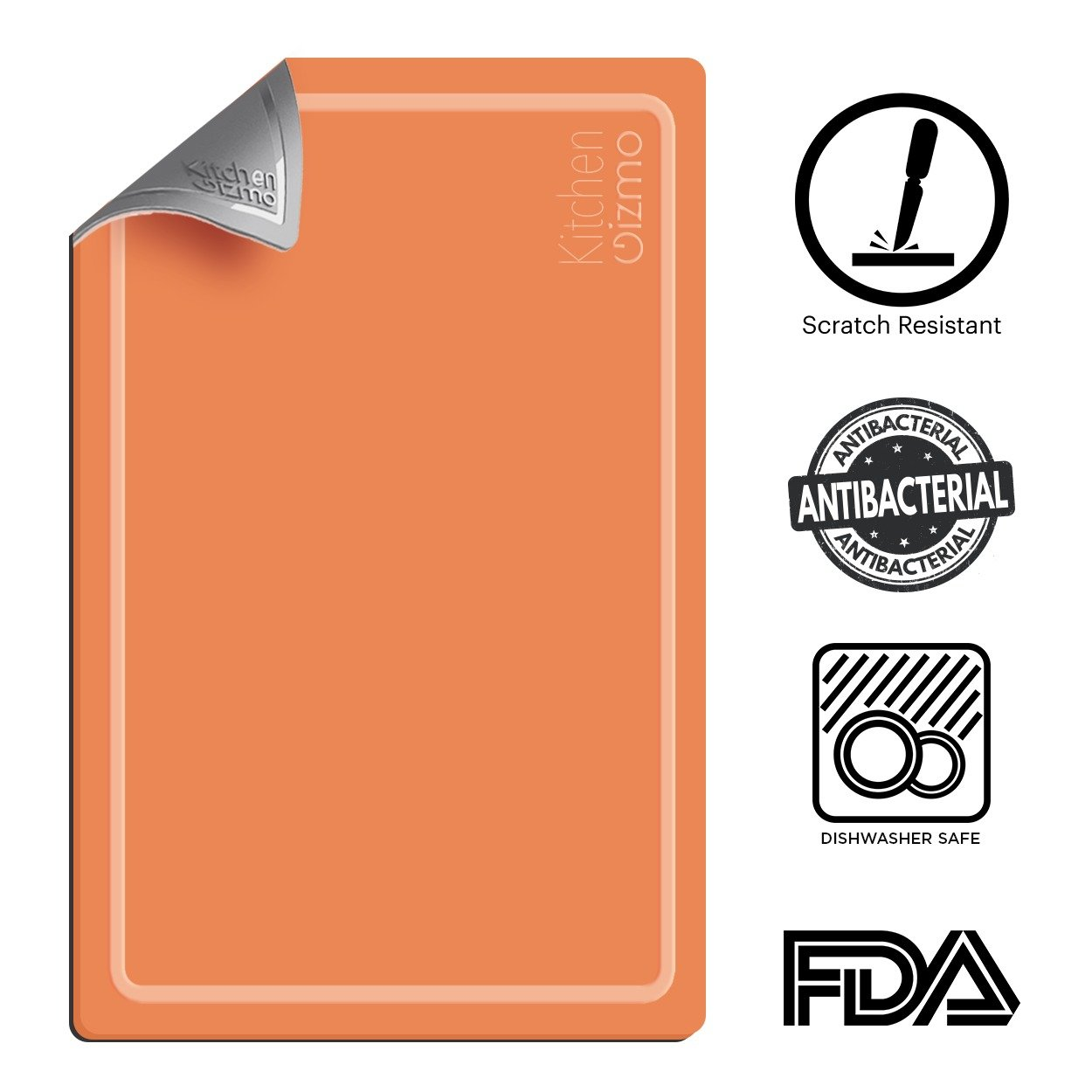 Extra Thick Flexible Cutting Board with Juice Groove | Heat and Cut Resistant, Antibacterial, BPA Free and FDA Approved| Dishwasher Safe, Double Sided, Orange and Grey Chopping Board by Kitchen Gizmo