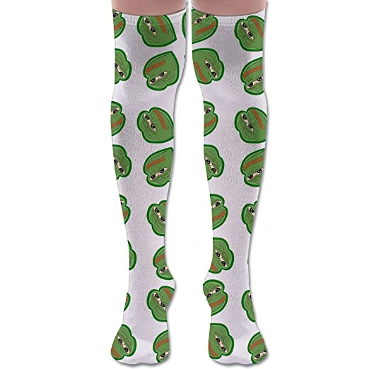 05454c72d5 Image Unavailable. Image not available for. Color  Pepe Frog Meme Cotton  Casual Knee High Socks