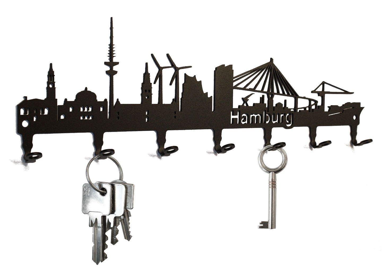 Key holder -  Hamburg  - Skyline - beautiful key hook for wall - 7 hooks - black steelprint.de SB30-0012-01