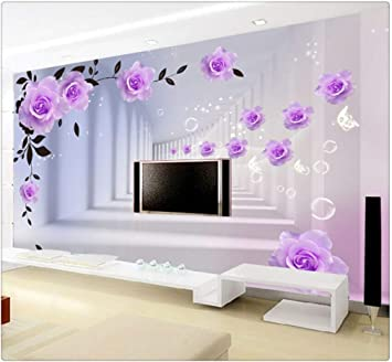 3d Photo Wallpaper European 3d Stereo Purple Roses Large Mural Living Room Bedroom Tv Background Wall Painting Wallpaper 300cmx210cm Amazon Com