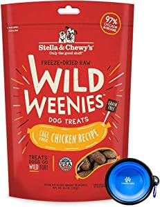 Stella & Chewy's Freeze Dried Raw Dog Food,Wild Weenies Treat Snacks 11-Ounce Bag with Hotspot Pets Food Bowl - Made in USA