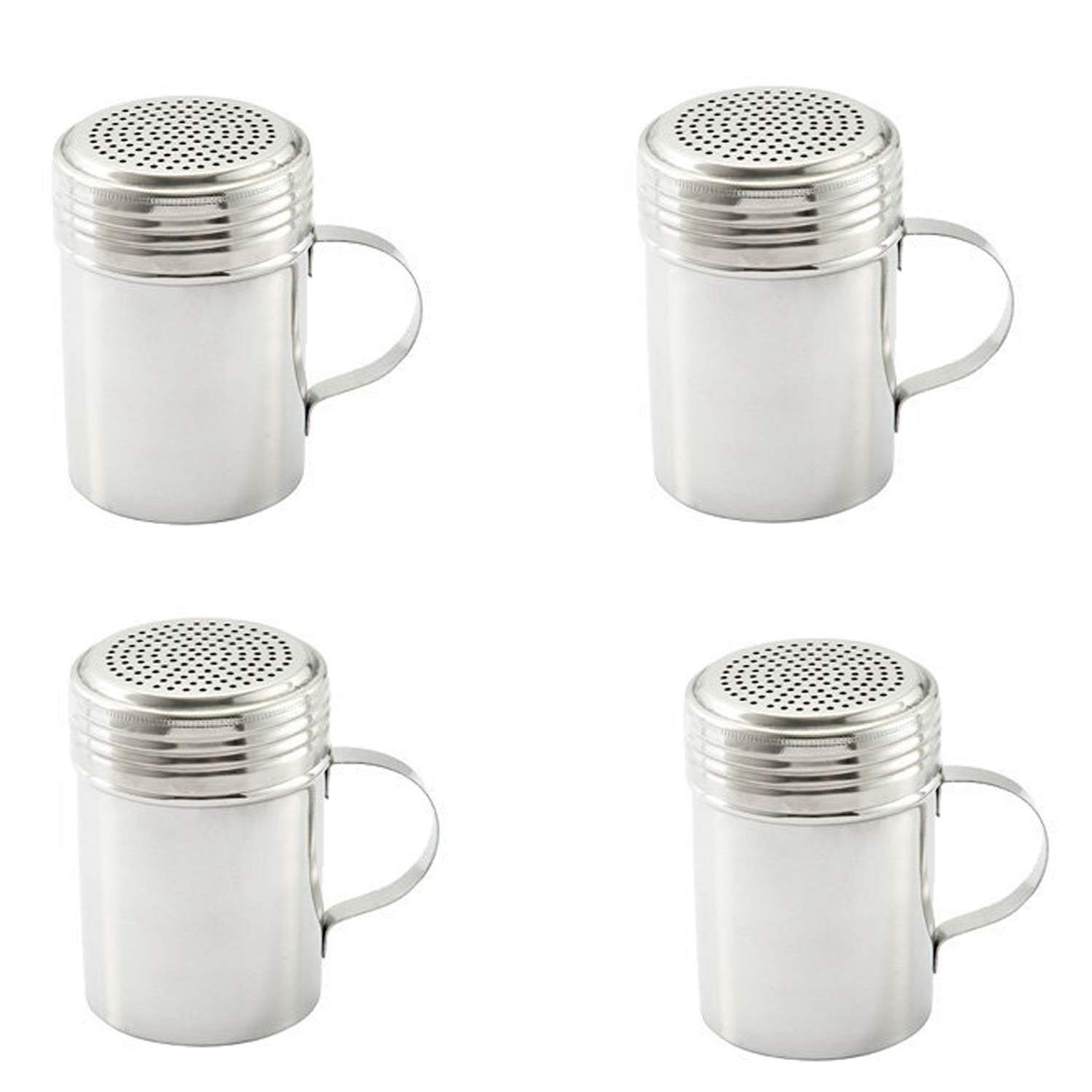 Stainless Steel Dredge Shaker with Handle, Set of 4 – 10 oz. by Culinary Depot (Image #3)