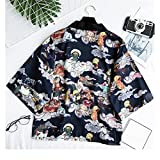 Neploe Lady Embroidery Japanese Kimono Blouse Harajuku Short Sleeve V-neck Loose Cardigan Bow Tie Devils Night Print Shirt