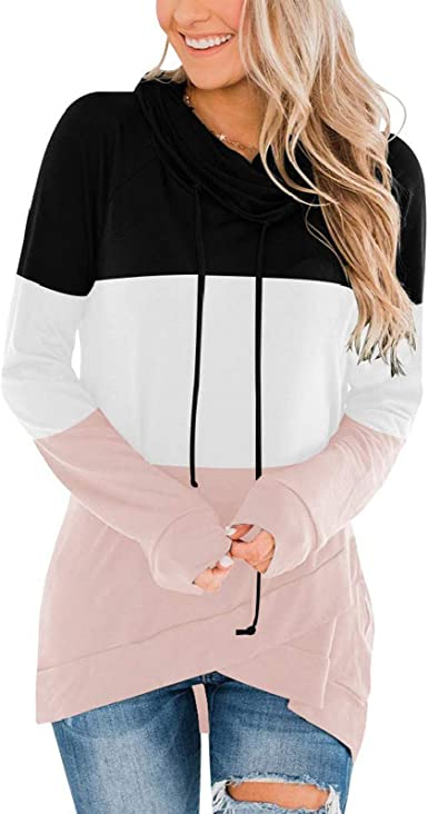 Womens Casual Color Block Hooded Sweatshirt Asymmetrical Hem Long Sleeve Loose Pullover Tops with Drawstring