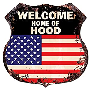 America flag welcome home of hood family name for Patriotic welcome home decorations