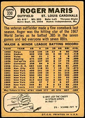 Deans Cards 1 1968 Topps # 330 Roger Maris St Louis Cardinals POOR Cardinals Baseball Card