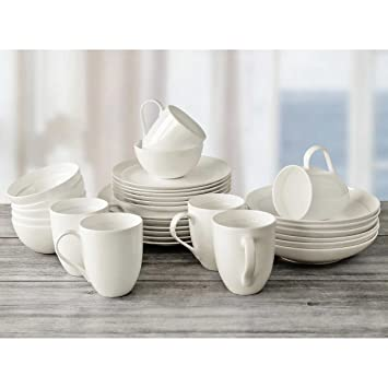 Over And Back Off The Menu 30-Piece Elegant White Bone Dinnerware Set Service  sc 1 st  Amazon.com & Amazon.com | Over And Back Off The Menu 30-Piece Elegant White Bone ...