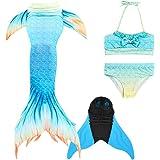 Amazon.com: Traje de baño de cola de sirena para niñas con ...