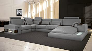 Ledercouch  Ledersofa grau Wohnlandschaft Leder Sofa Couch U-Form Ecksofa ...