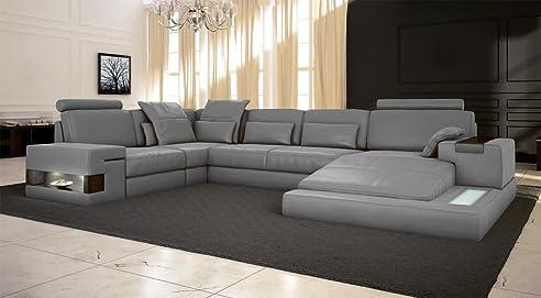 Eckcouch u form  Ledersofa grau Wohnlandschaft Leder Sofa Couch U-Form Ecksofa ...
