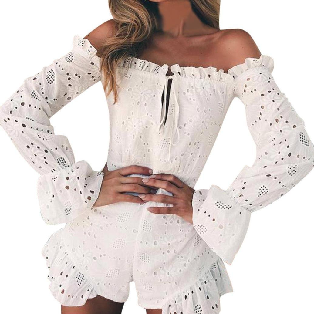 Baigoods New Women Cold Shoulder Sexy Lace Embroidery Floral Short Ruffles Embroidery Playsuits Jumpsuit