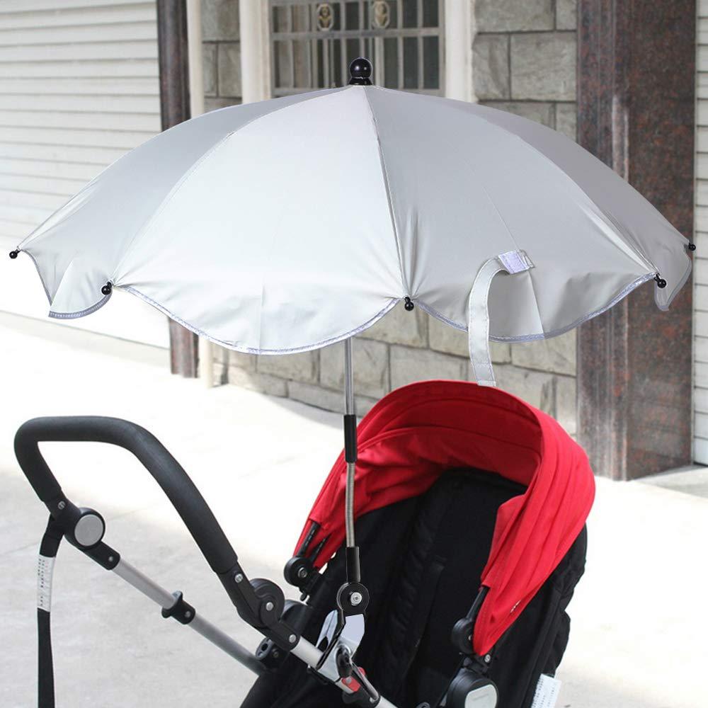 Ymysfit Pare-soleils Ombrelles R/églable Anti-UV pour Poussette Landau Parapluie Parasol avec Holder Clip pour Fauteuil Roulant Poussette