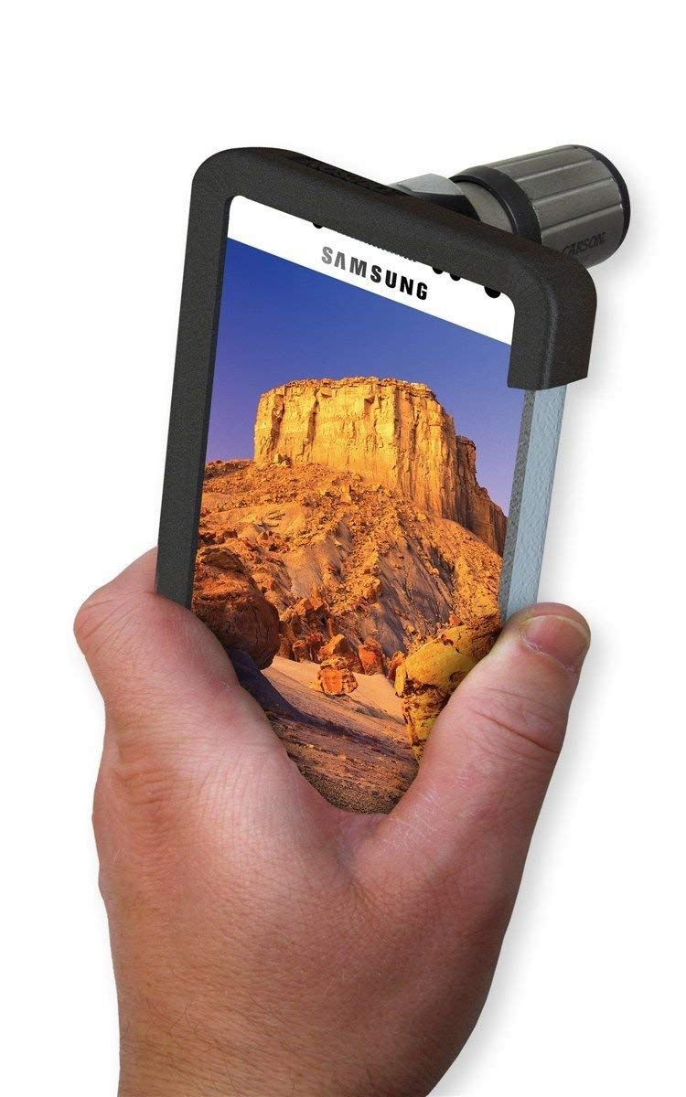 Carson HookUpz Samsung Galaxy S4 Adapter with Close Focus 7x18mm Monocular (IC-418) by Carson