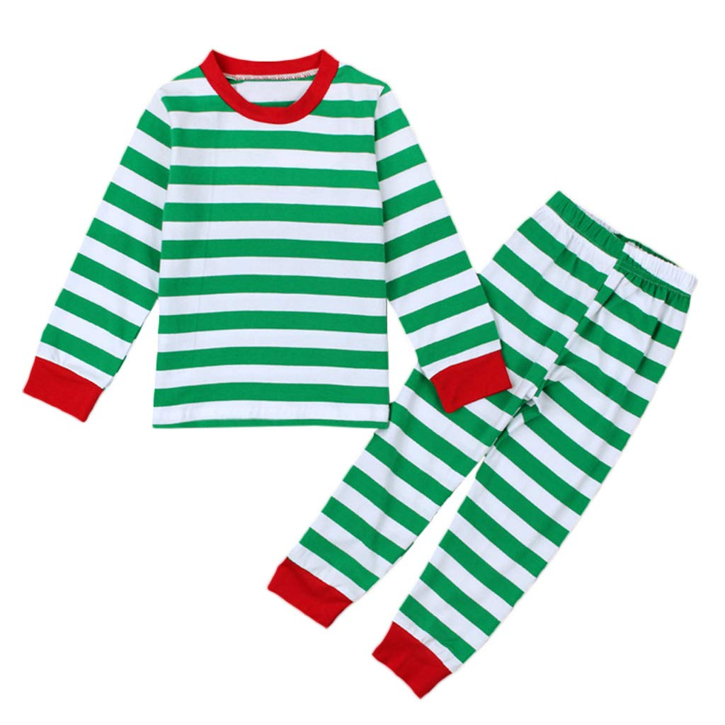 Lamdoo Boys Girls Children 2 Piece Christmas Pajamas Set Polyester Cross Striped Contrast Color Long Sleeve Sleepwear—Green 2