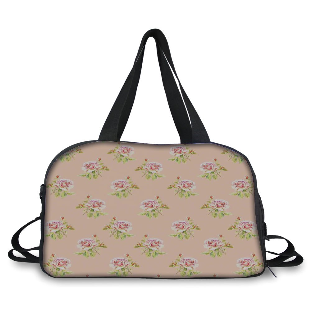 Travelling bag,Roses Decorations,Nostalgic Floral Endless Pattern with Pale Colored Flowers Wedding Loved One Print,Pink Green ,Personalized