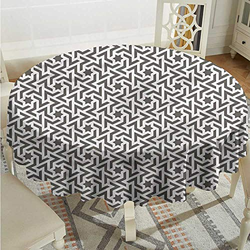 Tim1Beve Modern Round Tablecloth Ancient Mohawk Tattoo Table Cover for Dining D54 INCH
