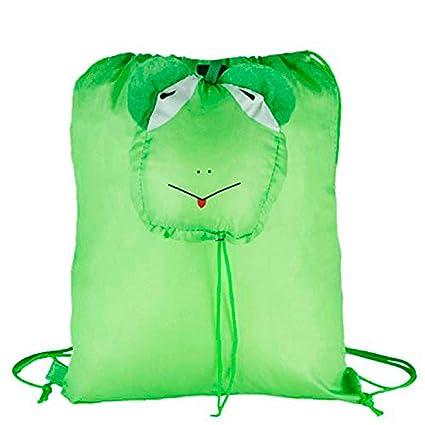 Lote de 20 Mochilas Plegables Animales Rana. Color Verde - Mochilas Escolares, Guarderías,