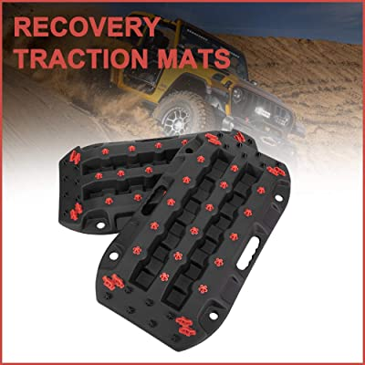 DEFEND INDUST Traction Boards - 2 Pcs Black Traction Mat for Sand Mud Snow Track Tire Ladder 4X4 - Recovery Traction Tracks: Automotive