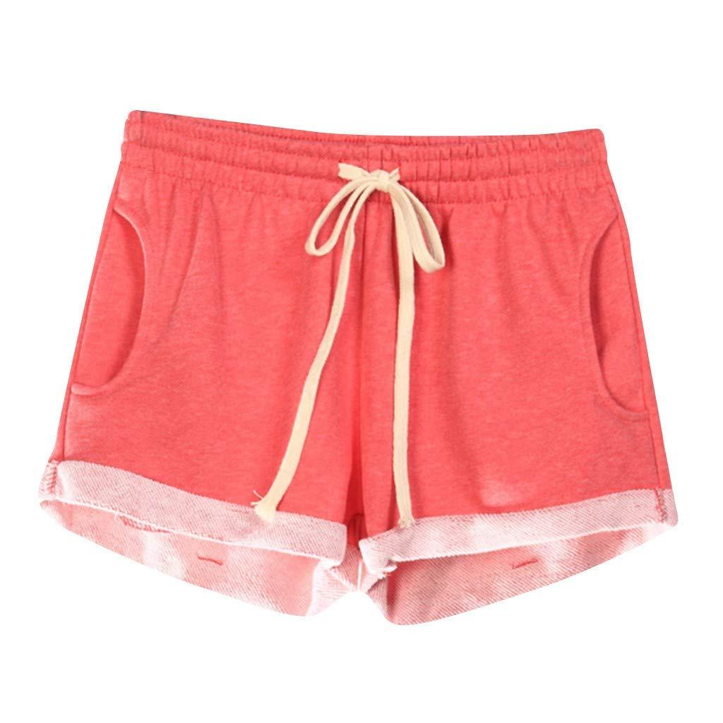 VEZAD Women Casual Solid Pockets Elastic Waist Loose Pajama Shorts Gym Sport Pants