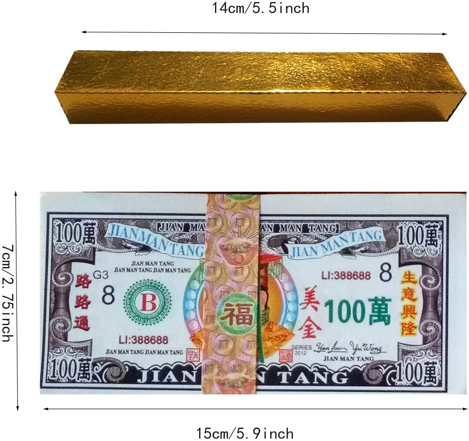 365 Pcs Chinese Joss Paper Hell Bank Notes Ancestor Money Gold Ingot for Funeral Bring The Good Luck Wealth and Health U.S Strengthen Connection with Your Ancestors Dollar GDB