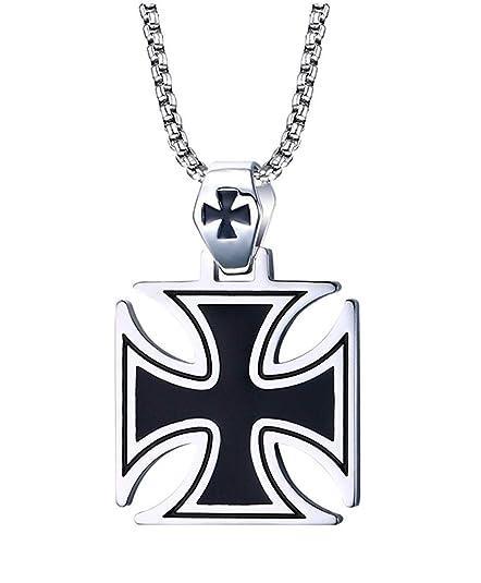 ab7288adb0b6 Vnox Acero inoxidable Hombres La Plata Negro Collar Colgante Cruz de los  Templarios,la cadena libre