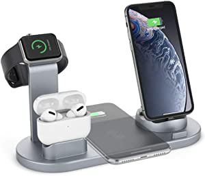 Wireless Charger, HSYTEK 4 in 1 Wireless Charging Station Dock Compatible with Apple Watch Airpods iPhone 11/11pro/11pro Max/X/XS/XR/Xs Max/8/8 Plus Samsung Huawei (Gray)