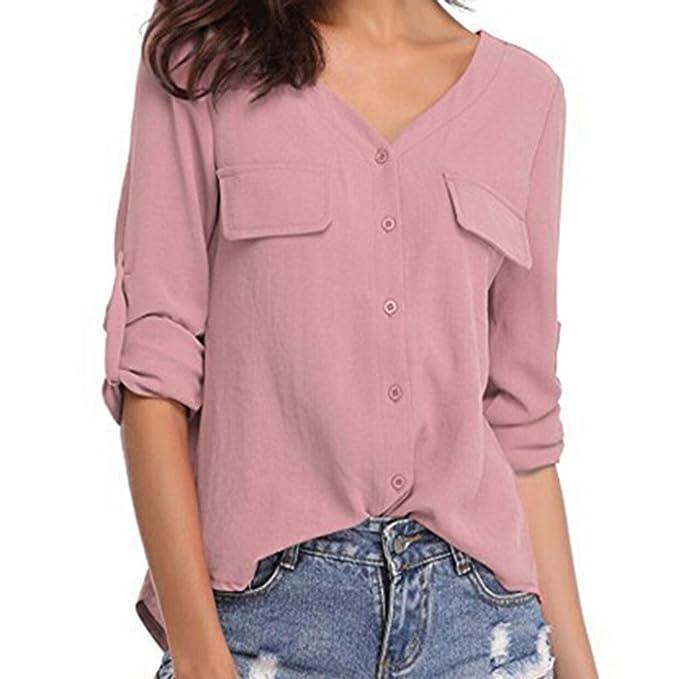 Fossen Mujer Blusas Camisas - Manga Larga - Botones - Elegante y Moda: Amazon.es: Ropa y accesorios