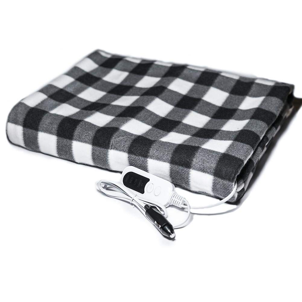White and Red Car Electric Blanket 12V Multifunctional Auto Shut Off Heated 59.06 39.37 Inch