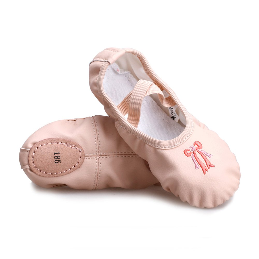 Girls Split Sole Leather Flat Ballet Shoes, Nude, Foot Length: 6.1 inch-Toddler 9M-Size: 175