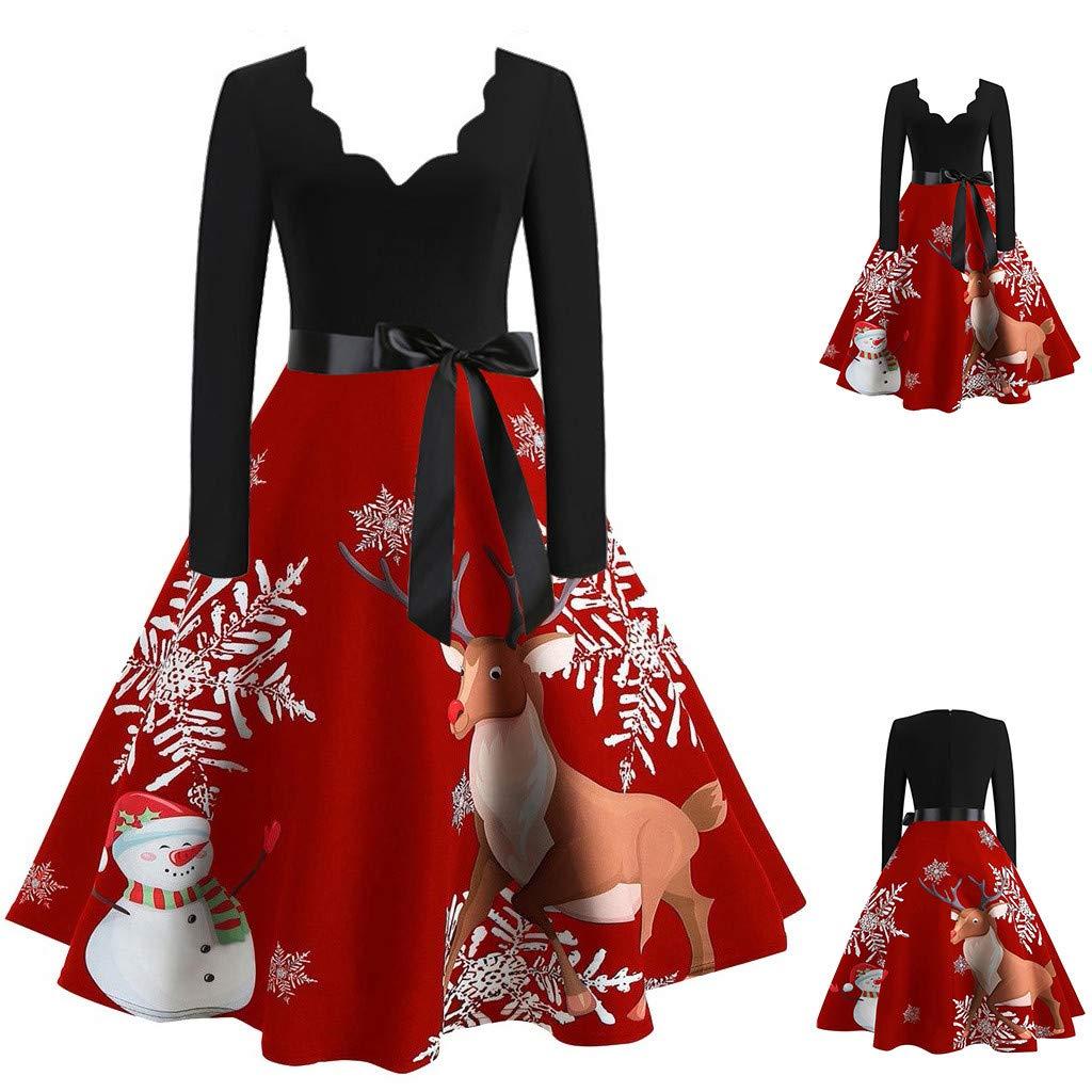 MineMine Robe de Hepburn Femme Fille Robe de Soir/ée Cocktail R/étro Robe Vintage Rockabilly Classique Swing Robe Mini Robe Elegant Robe