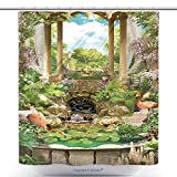 gazebo curtains home depot vanfan-Durable Shower Curtains Floral Vintage Arch With A Gazebo A Flamingo Pond And Cherry Waterfall And Blooming Garden Polyester Bathroom Shower Curtain Set With Hooks(69 x 75 inches)