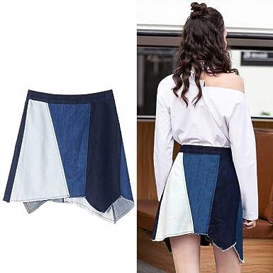 GYYWAN Mini Jeans Falda Tallas Grandes Mujeres Botón De Cintura ...