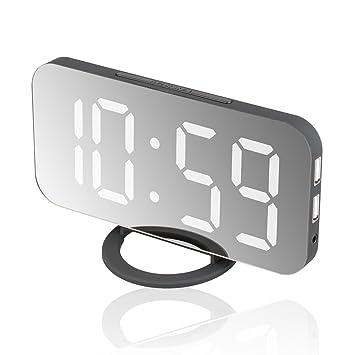 EEEKit Despertador Reloj Digital Grande con Pantalla LED Automático, portátil, Moderno, con Pilas, Espejo, Snooze Light Soft, Modo Nocturno (batería ...