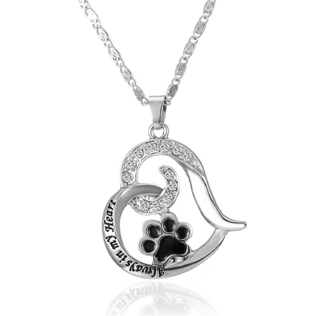 Paw Print Heart Pet Lover Pend...