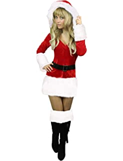 6c03275c23ff Adult Sexy Miss Mrs Santa Claus Mother Christmas Velvet Fancy Dress ...