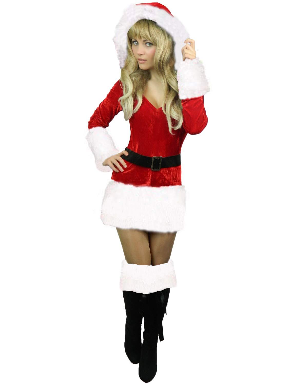 Yummy Bee Disfraz de Papá Noel Señora Fiestas de Disfraces Terciopelo Rojo Navideña Santa Claus Talla Grande 34 - 46 (Mujer: Blanco, 38-40)