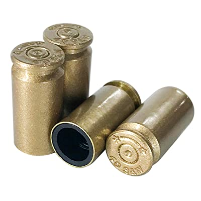 OPG3 Real Bullet Valve Stem Caps Set of 4 Custom Brass Authentic Quality Gold Chrome Polished Silver Black Aluminum Bullet Easy Screw On Tire Covers Car Wheel Truck Caps (Vegas Gold): Automotive