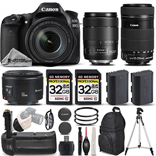 Canon-EOS-80D-Wi-Fi-Full-HD-1080P-Digital-SLR-Camera-Canon-18-135mm-IS-USM-Lens-Canon-55-250mm-IS-STM-Lens-Canon-50mm-18-II-Lens-All-Original-Accessories-Included-International-Version