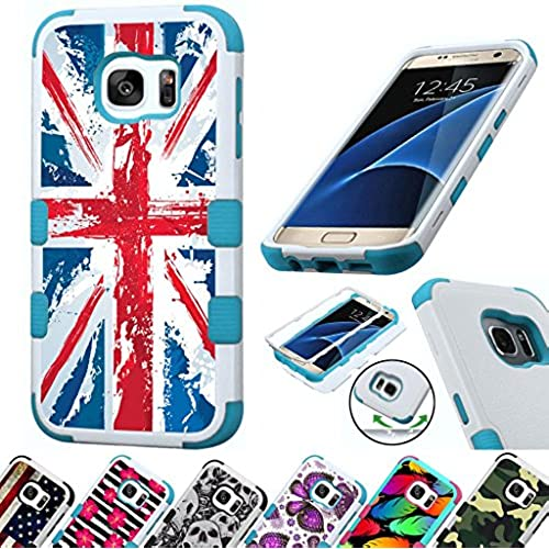 For Samsung Galaxy S7 Edge G935 Case 3-Layer Armor Hybrid Rugged Silicone Phone Cover FancyGuard (Uk Flag/Teal) Sales