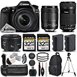 Canon EOS 80D Wi-Fi Full HD 1080P Digital SLR Camera + Canon 18-135mm IS USM Lens + Canon 55-250mm IS STM Lens + Canon 50mm 1.8 II Lens. All Original Accessories Included - International Version
